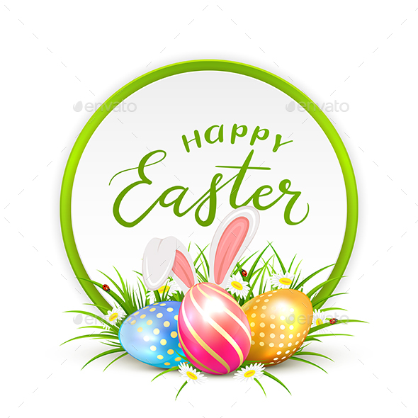 Card of Easter Eggs with Rabbit Ears in Grass - Miscellaneous Seasons/Holidays