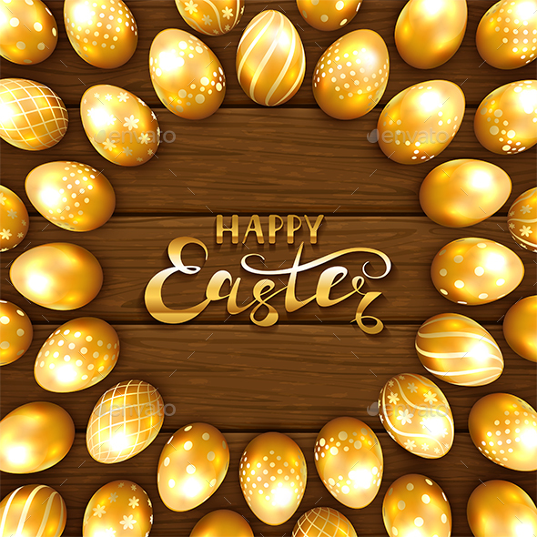 Set of Golden Easter Eggs with Pattern on Brown Wooden Background - Miscellaneous Seasons/Holidays