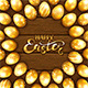 Set of Golden Easter Eggs with Pattern on Brown Wooden Background