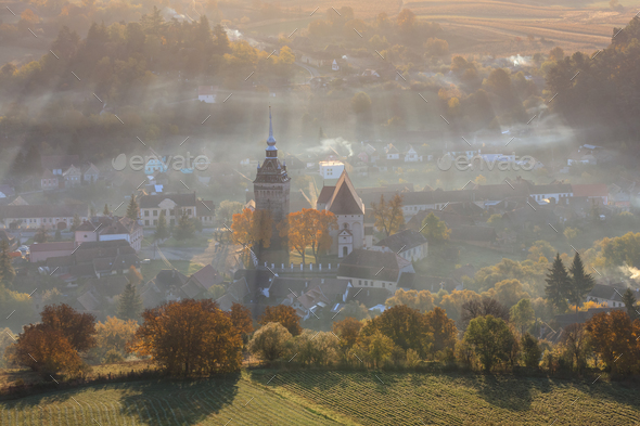 Saschiz fortified church. Romania - Stock Photo - Images