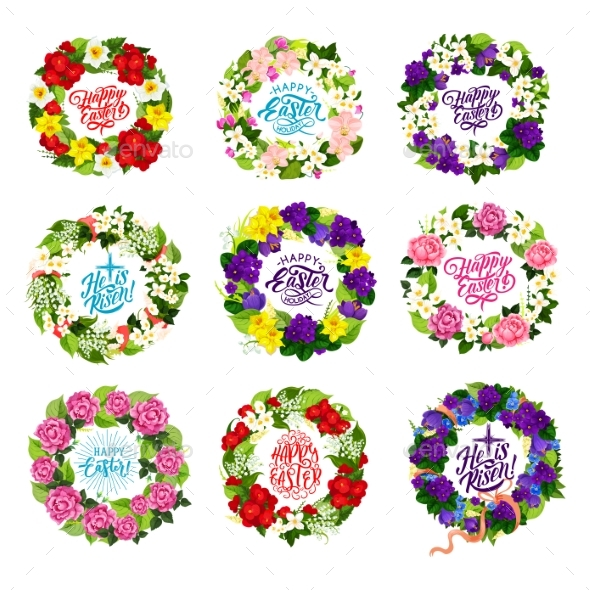 Vector Happy Easter Holiday Flower and Cross Icons - Religion Conceptual