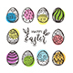 Set of Black Easter Eggs and Colored Circles - GraphicRiver Item for Sale