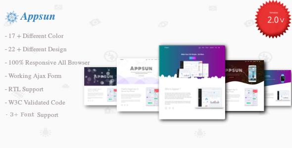 Appsun | App Landing Page - Technology Site Templates