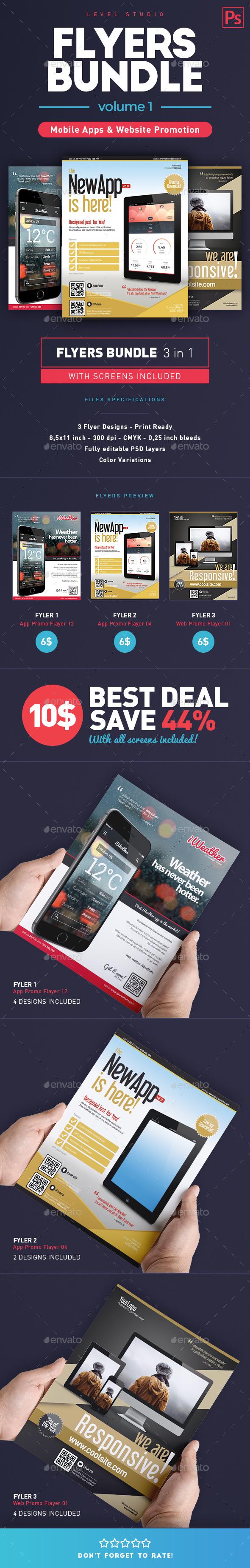 Bundle Flyers App & Web Promo (vol. 1) - Commerce Flyers