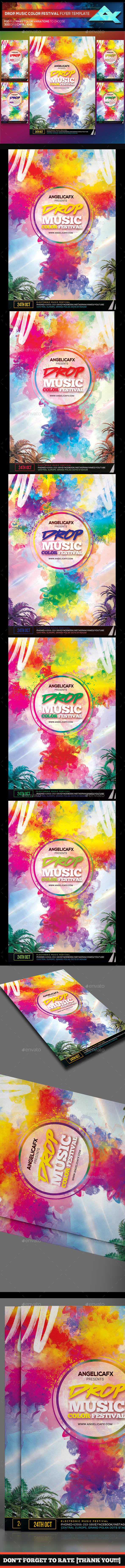 Drop Music Color Festival Flyer Template - Events Flyers
