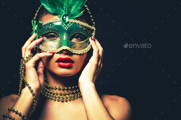 beautiful golden glamour woman - Stock Photo - Images