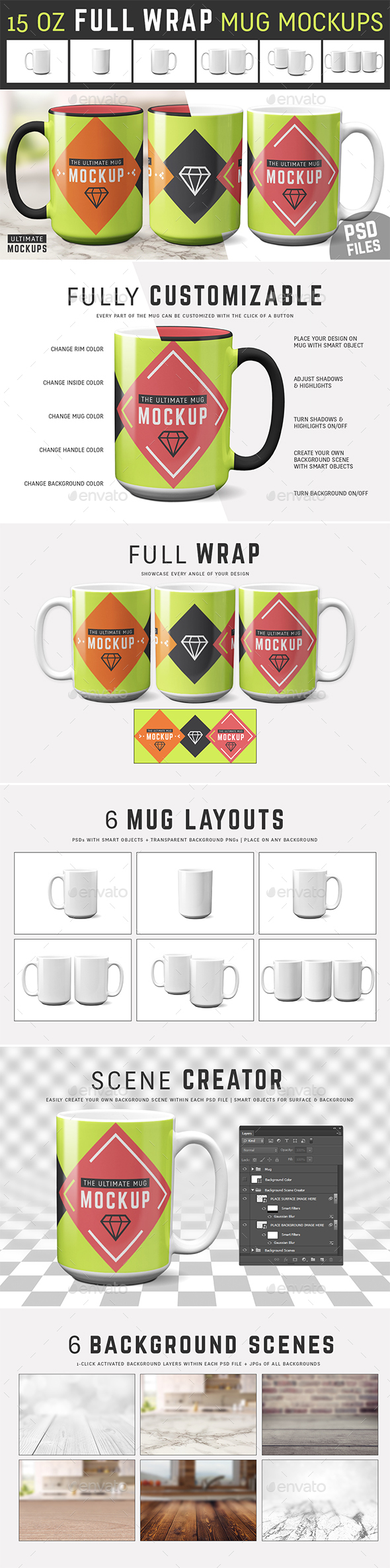 15 oz Mug Mockup Templates - Food and Drink Packaging