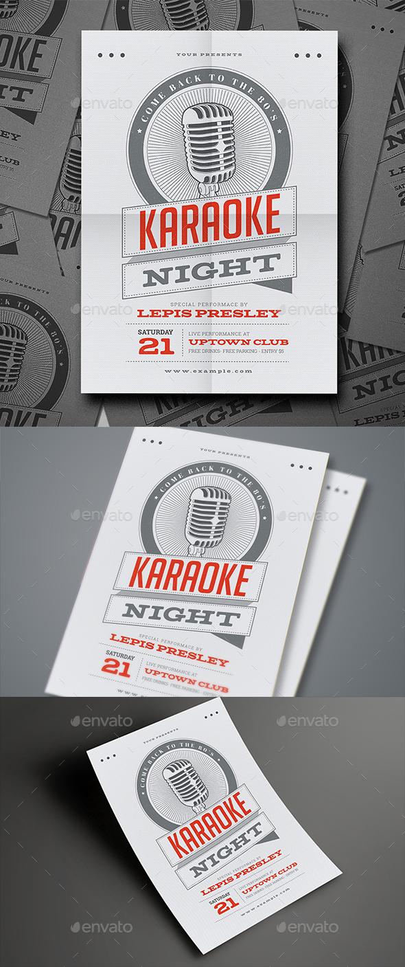 Vintage Karaoke Night Event Flyer - Events Flyers