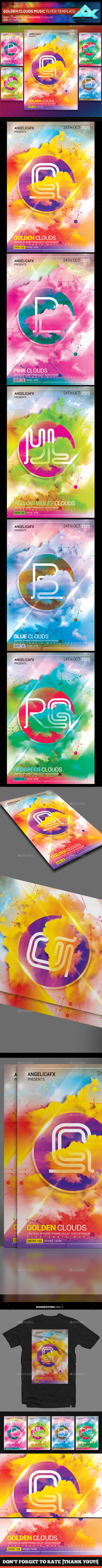 Golden Clouds Music Flyer Template - Flyers Print Templates