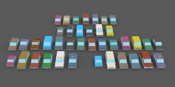 LowPoly Vehicles Pack - 3DOcean Item for Sale