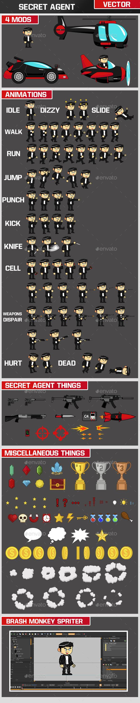 Secret Agent Character - Sprites Game Assets