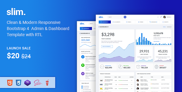 Image of Slim - Modern & Clean Responsive Bootstrap 4 Admin Dashboard Template