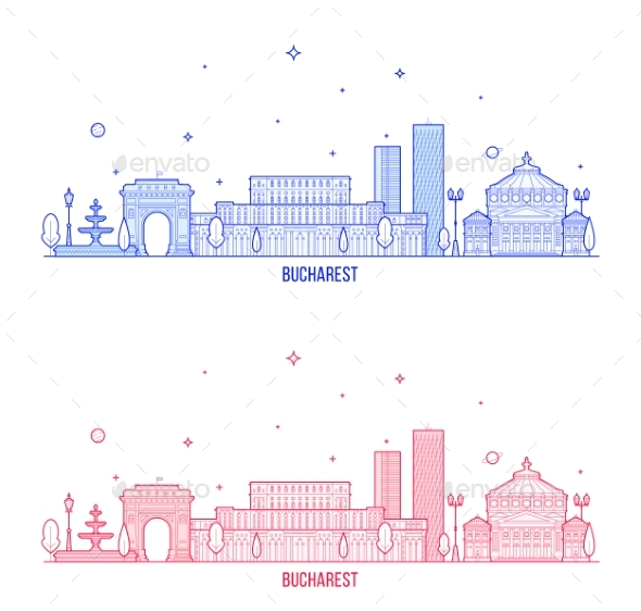 Bucharest Skyline Romania City Buildings Vector - Buildings Objects