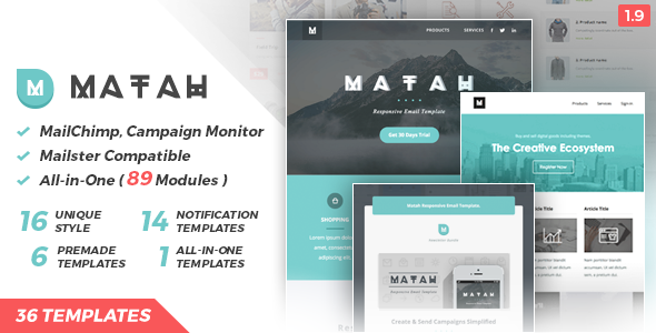 Matah | Responsive Email Set - Newsletters Email Templates
