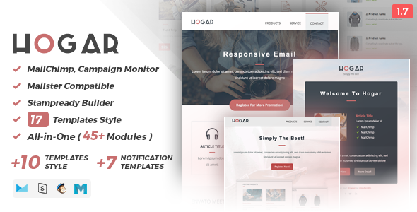 Hogar | Responsive Email Set - Email Stationery Email Templates