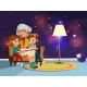 Vector Cartoon Grandmother Reading to Girl and Boy