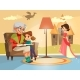 Vector Cartoon Grandmother Reading To Girl