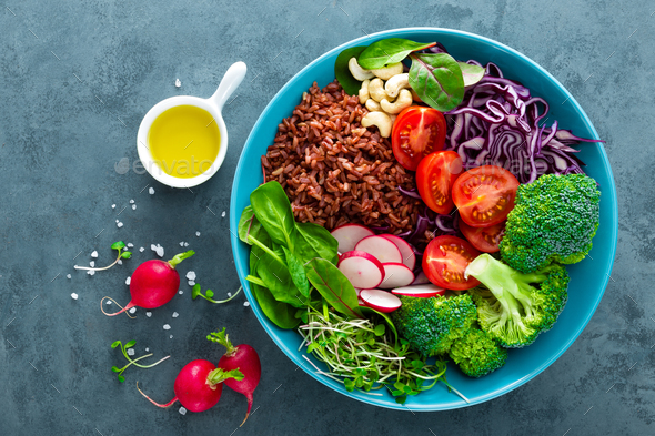 Buddha bowl meal with rice and vegetables - Stock Photo - Images