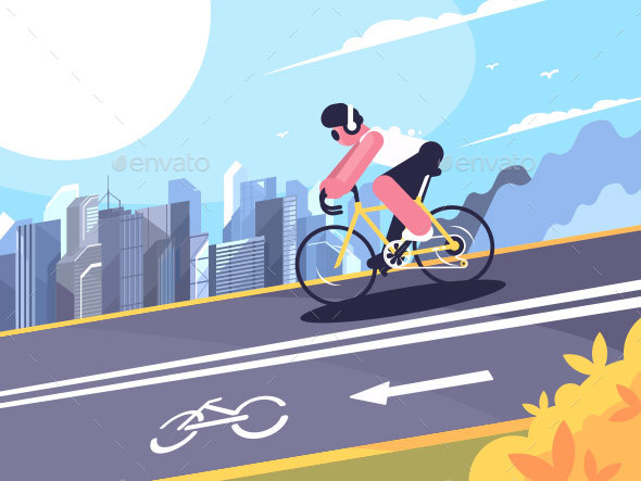 Cyclist on Track for Cyclists - People Characters