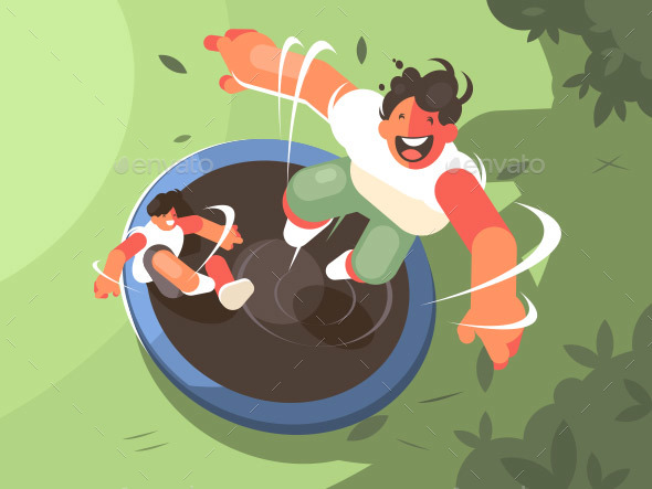 Two Guys Jumping on Trampoline - People Characters