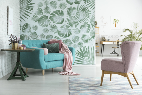 Blue couch in botanic interior - Stock Photo - Images
