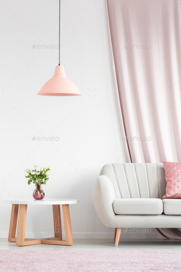 Living room with peach lamp - Stock Photo - Images