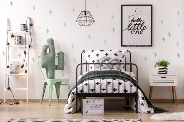 Kid's bedroom interior with cactus - Stock Photo - Images