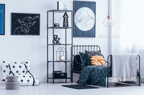 Astronaut's bedroom interior - Stock Photo - Images