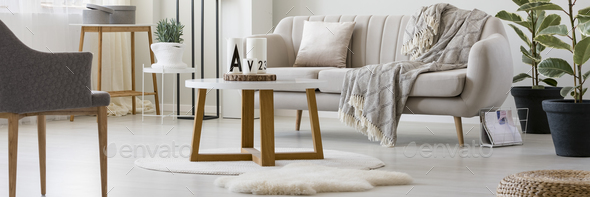 Wooden table in living room - Stock Photo - Images