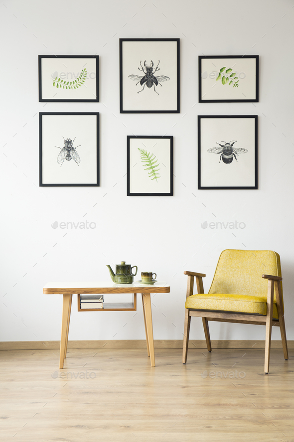 Yellow retro chair in room - Stock Photo - Images