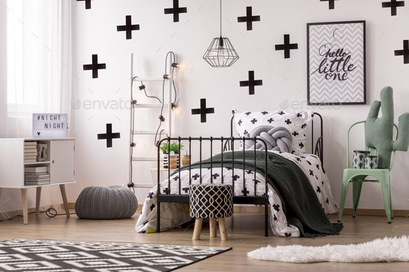 Patterned wallpaper in kid's bedroom - Stock Photo - Images
