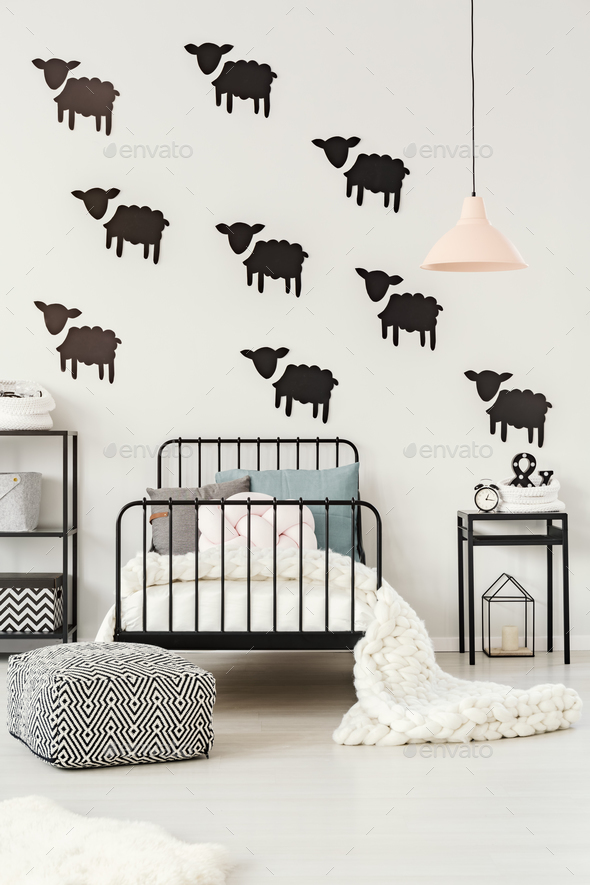 Sheep stickers in kid's bedroom - Stock Photo - Images