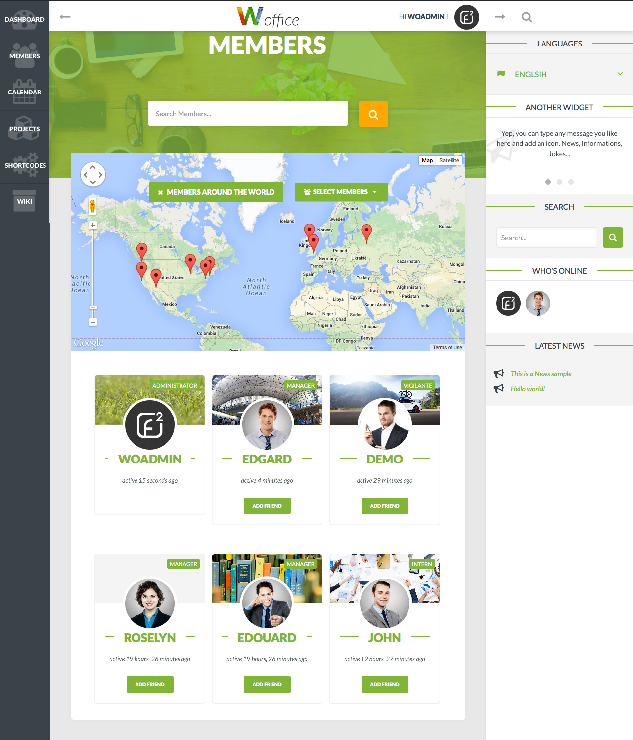 Woffice intranet extranet wordpress theme by alkaweb for Wordpress design