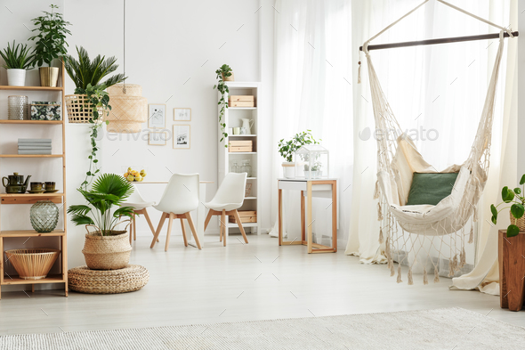 Hammock in bright living room - Stock Photo - Images