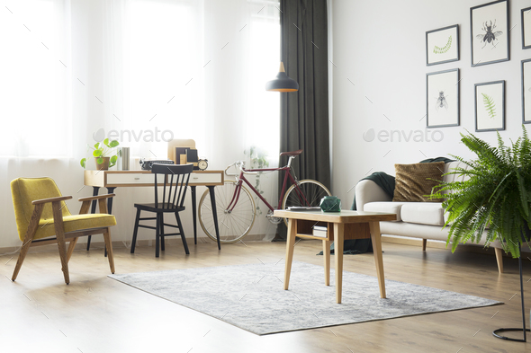 Living room with home office - Stock Photo - Images