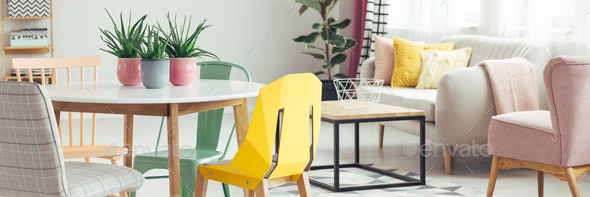 Yellow chair in living room - Stock Photo - Images
