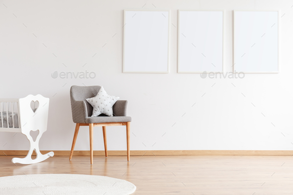 Empty posters on white wall - Stock Photo - Images