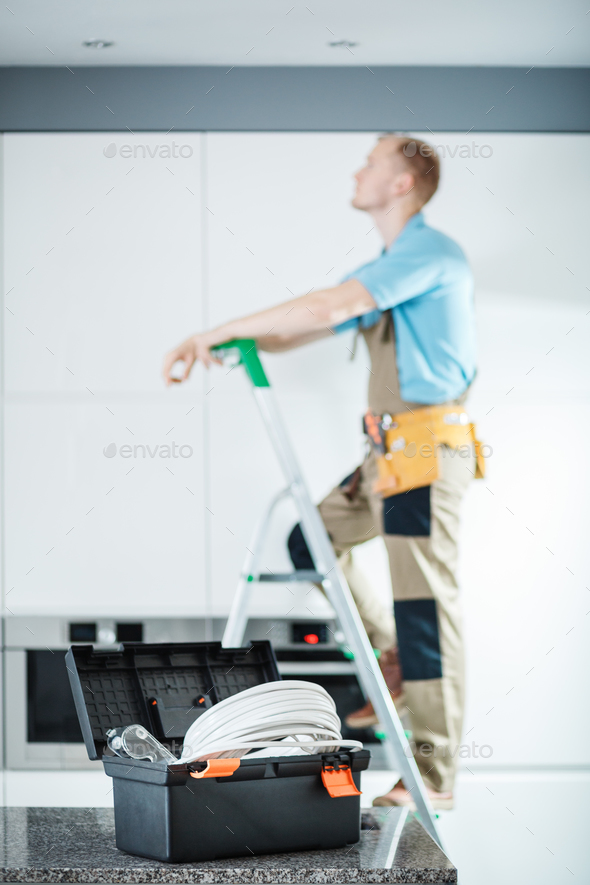 Black toolbox of electrician - Stock Photo - Images
