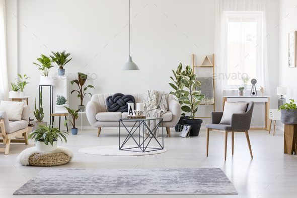 Spacious floral living room - Stock Photo - Images