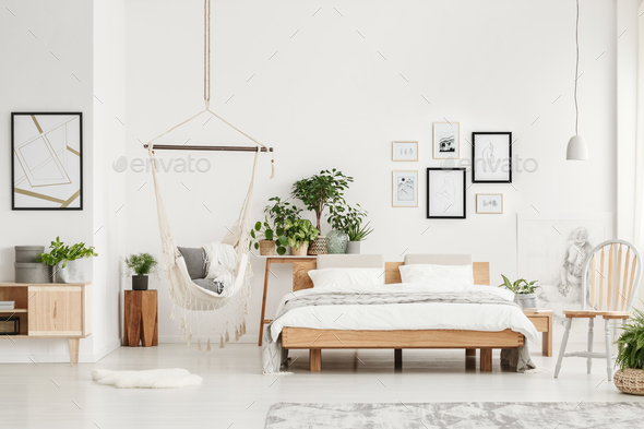 Bedroom with wooden furniture - Stock Photo - Images