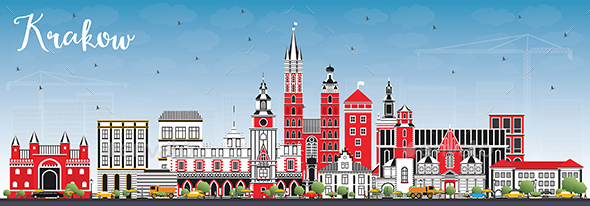 Krakow Poland City Skyline with Color Buildings and Blue Sky - Buildings Objects