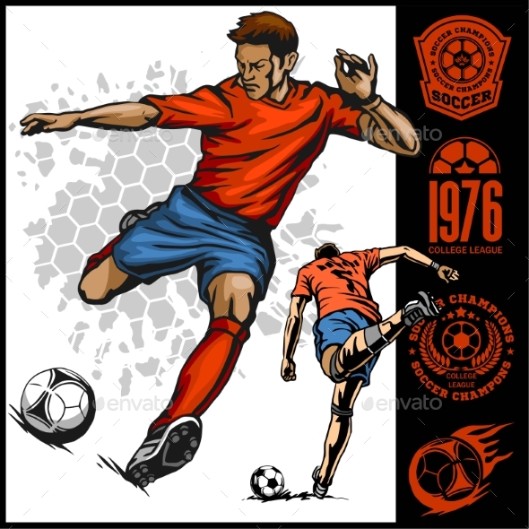 Soccer Player Kicking Ball - Sports/Activity Conceptual