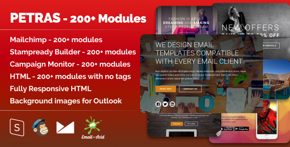 Petras 200 - Responsive Email with Mailchimp Editor, StampReady & Online Builder - Newsletters Email Templates