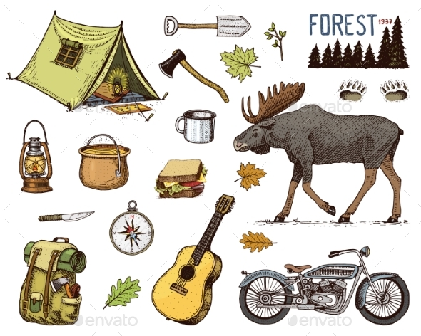 Camping Equipment Set By Arthurbalitskiy