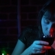 Portrait of a Pensive Young Woman Drinking Red Wine at Night. - VideoHive Item for Sale