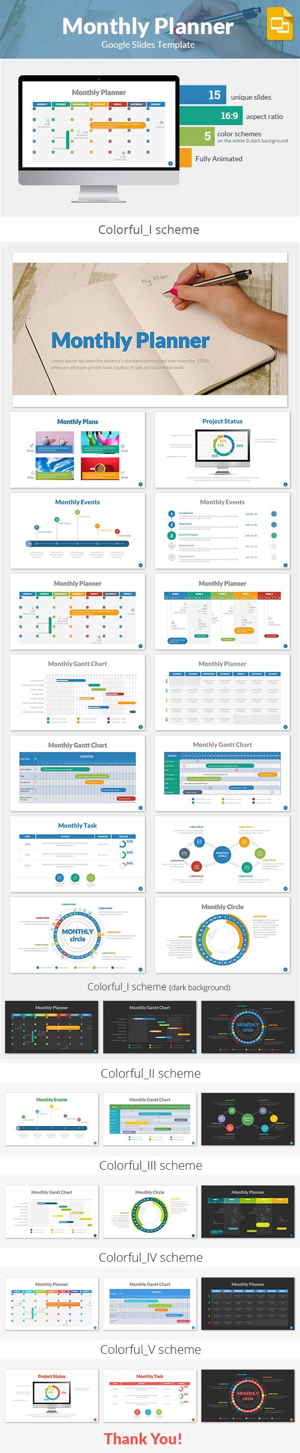 Monthly Planner Google Slides Template - Google Slides Presentation Templates