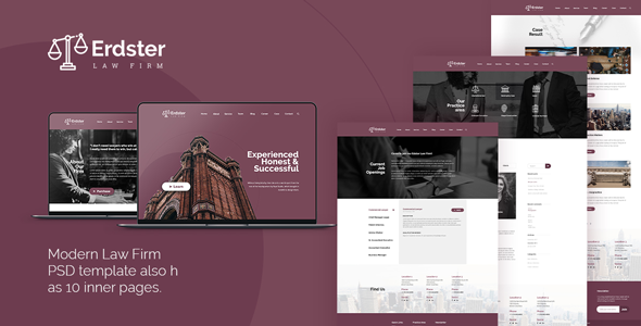 Erdster – Law Firm PSD Template
