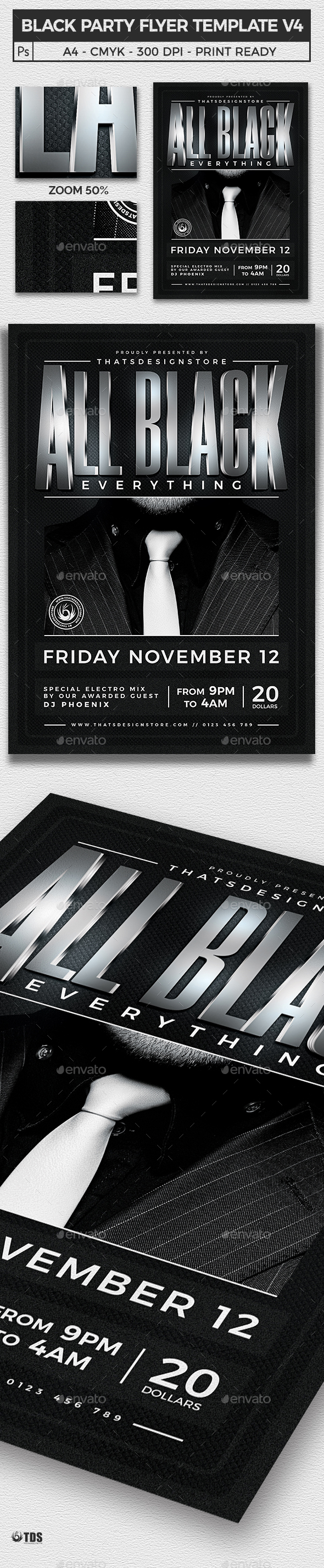 Black Party Flyer Template V4 - Clubs & Parties Events