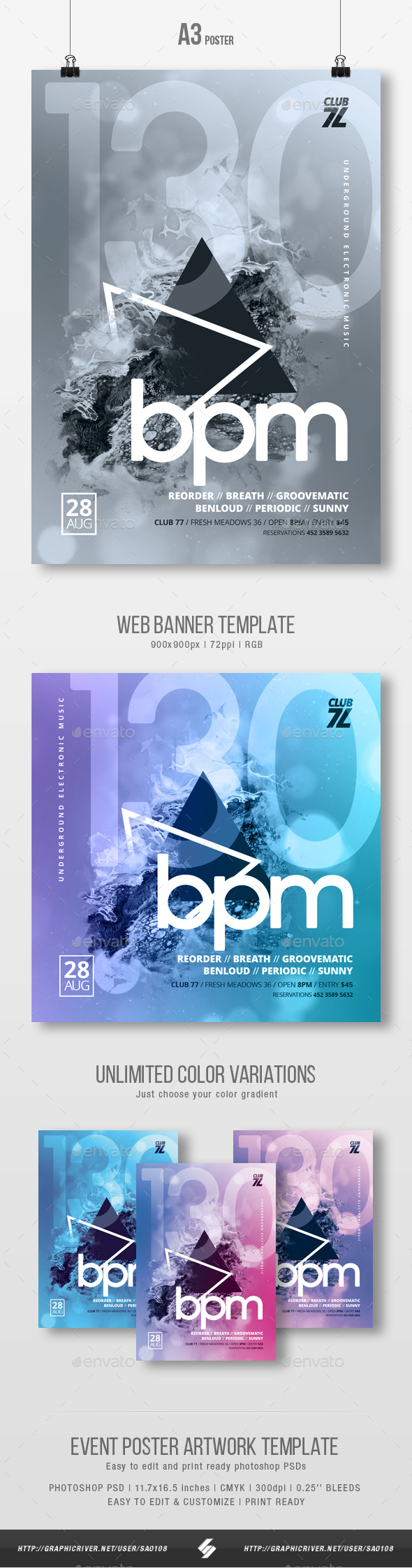 130 bpm - Abstract Party Flyer / Poster Template A3 - Clubs & Parties Events