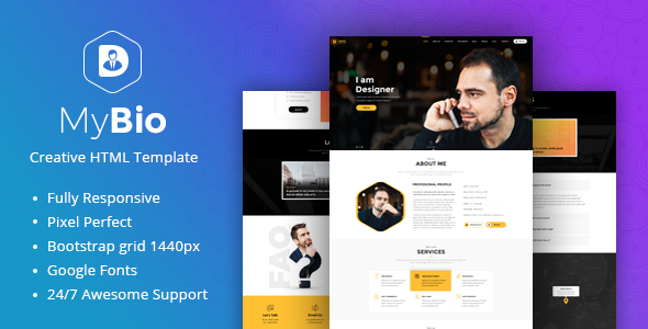 Mybio One Page Personal Portfolio Html Template With Blog Pages By Pixlogix